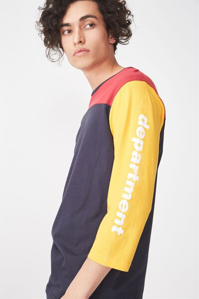 Tbar 3/4 Baseball Tee, PERSIAN RED/TRUE NAVY/ZINNIA YELLOW/POSY GREEN/DEP