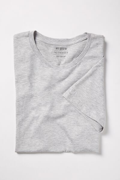 Embroidered Crew Neck Tee, GREY MARLE