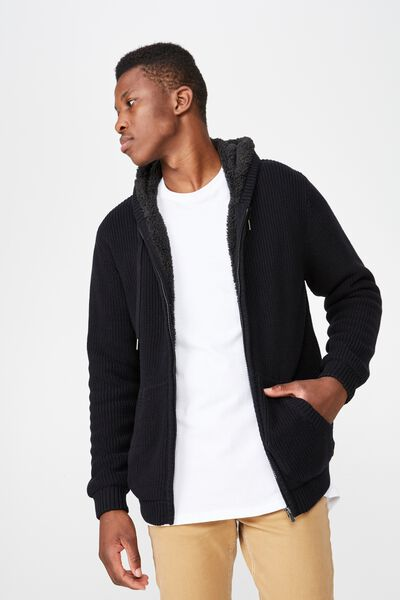 Zip Thru Sherpa Hoody, BLACK