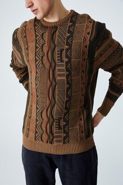 Vintage Knit, TAN MULTI PATTERN