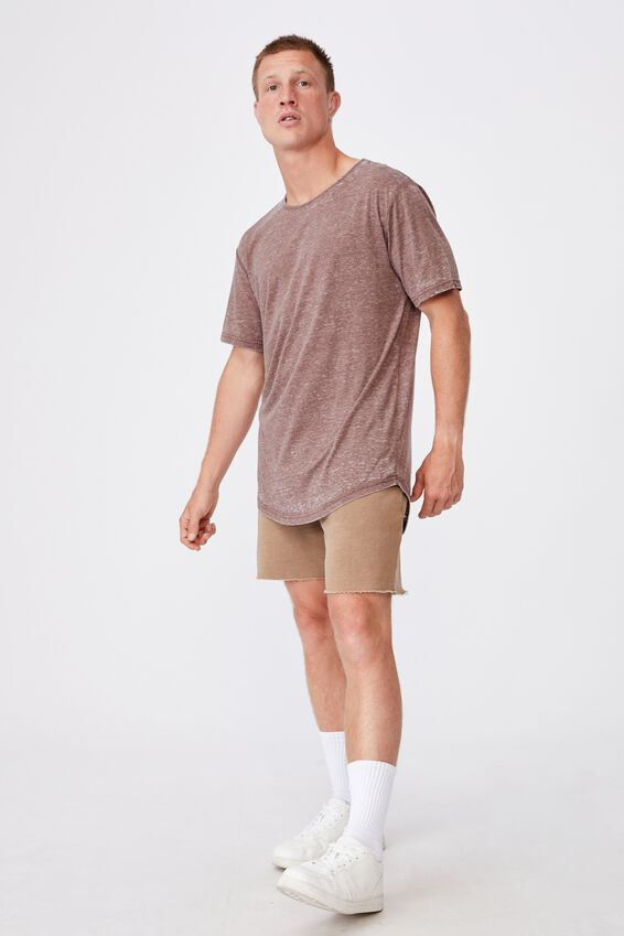 Longline Scoop Burnout T-Shirt, BRUNETTE