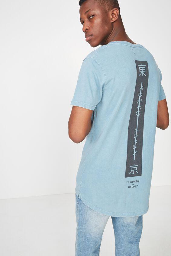 Longline Scoop Hem Tee, ADRIATIC BLUE ACID/TOKYO JAPAN