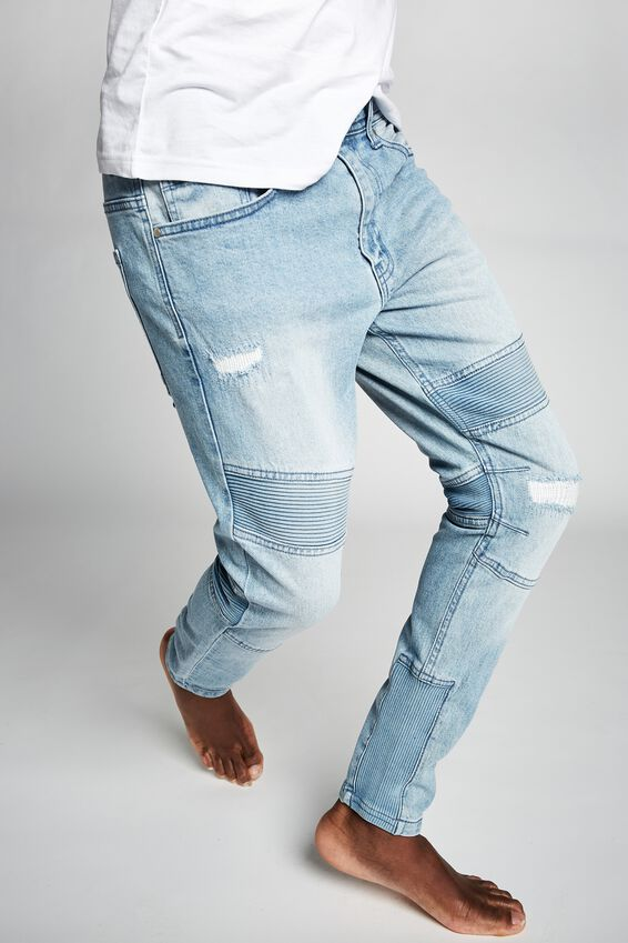 Skinny Tapered Jean, RIBBED MID BLUE
