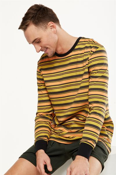 Tbar Long Sleeve, YELLOW/ORANGE/CHARCOAL STRIPE