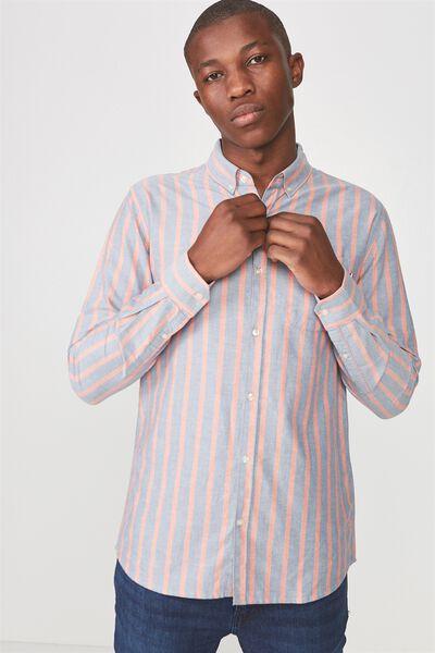 Brunswick Shirt 3, INDIGO ORANGE STRIPE