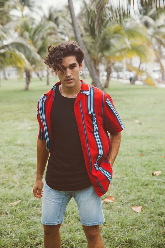 Festival Shirt, RED NAVY SPACED STRIPE