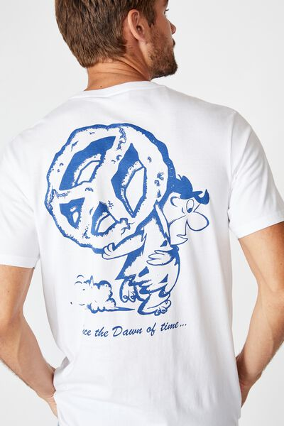 Tbar Collab Movie And Tv T-Shirt, LCN WB WHITE/FLINSTONES - DAWN OF TIME