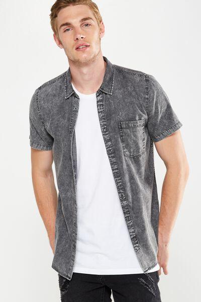 91 Short Sleeve Shirt, TEXTURED BLACK DENIM
