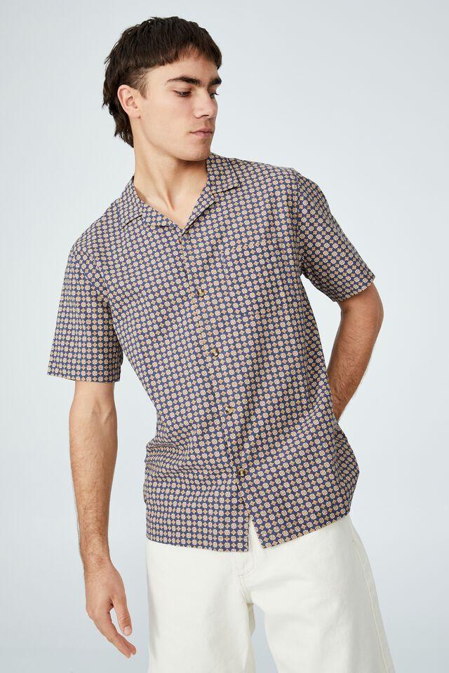 Riviera Short Sleeve Shirt, NAVY 70 S MICRO