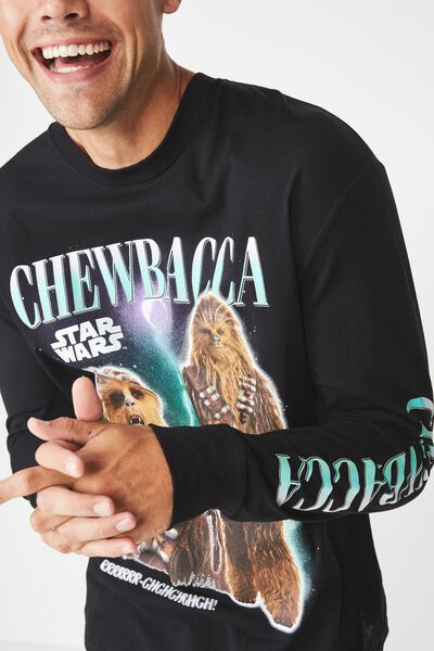 Tbar Collaboration Ls Tee, LC BLACK/STARWARS-CHEWBACCA