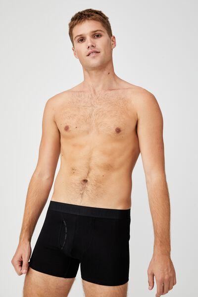 Mens Organic Cotton Trunks, BLACK/BLACK
