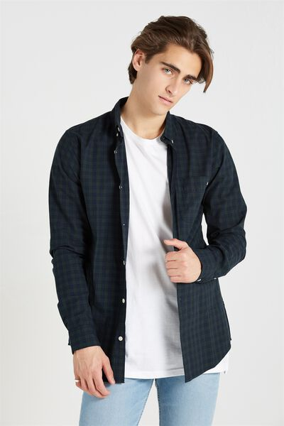 Brunswick Shirt 3, NAVY/GREEN CHECK