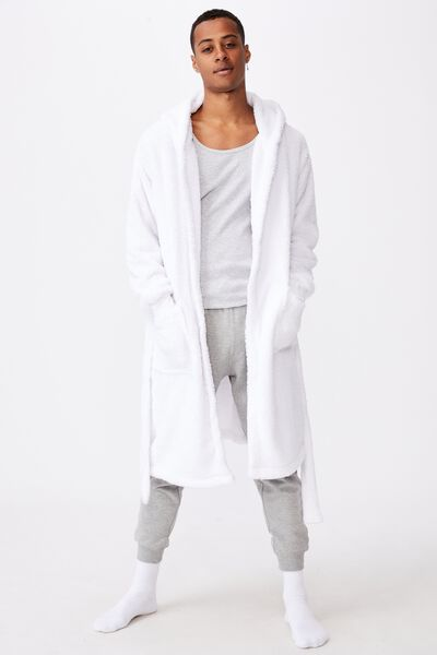 Mens Plush Gown, WHITE
