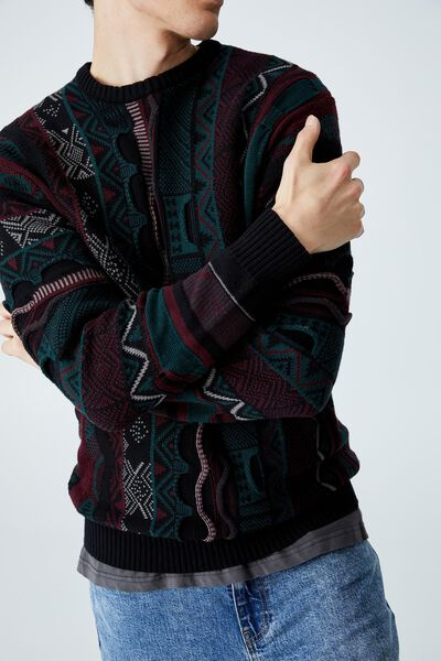 Vintage Knit, BLACK PATTERN