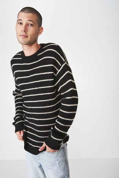 Box Crew Knit, BLACK WHITE STRIPE