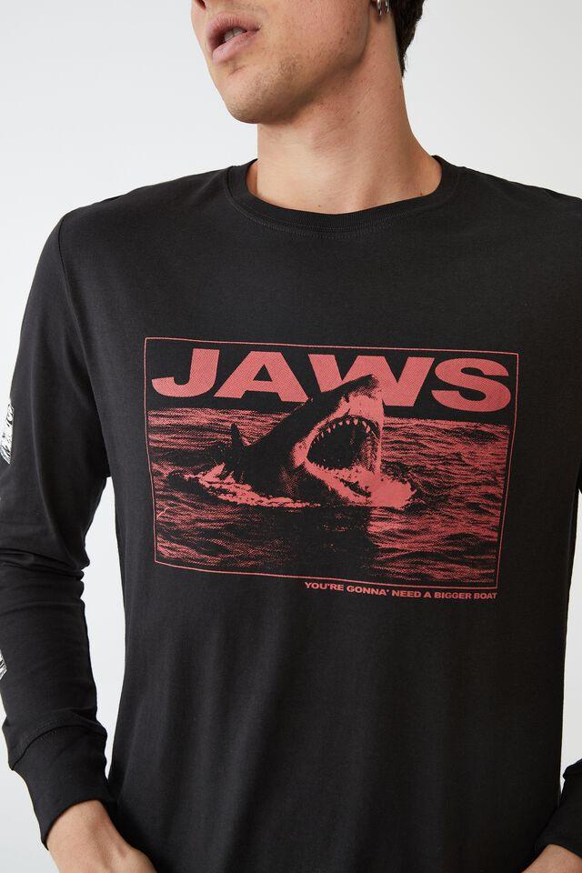 Tbar Collab Long Sleeve T-Shirt, LCN UNI WASHED BLACK JAWS - BIGGER BOAT
