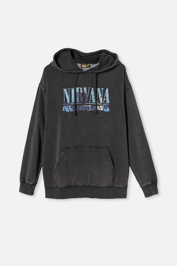 Premium Collab Fleece Pullover, LCN LIV WASHED BLACK NIRVANA