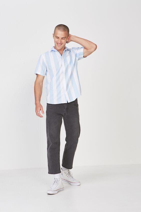 Vintage Prep Short Sleeve Shirt, SKY BOLD STRIPE
