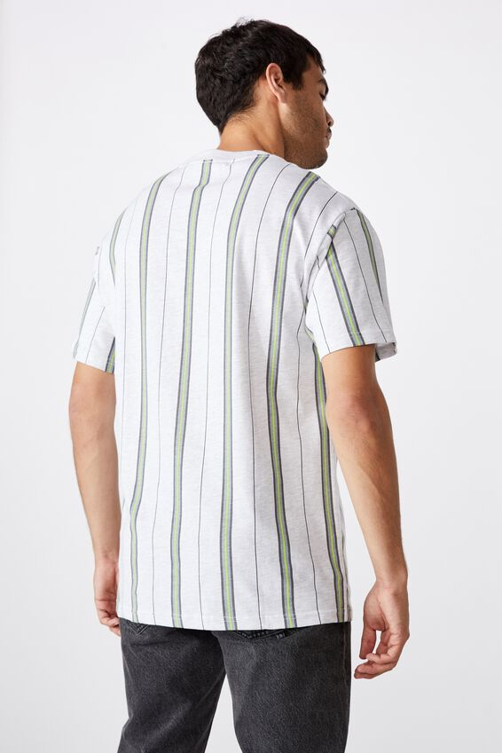 Downtown Loose Fit Tee, WHITE MARLE GLOW STRIPE