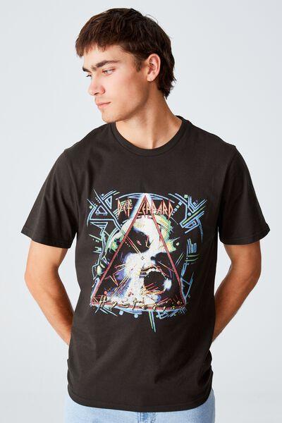 Tbar Collab Icon T-Shirt, LCN BRA WASHED BLACK/DEF LEPPARD - HYSTERIA