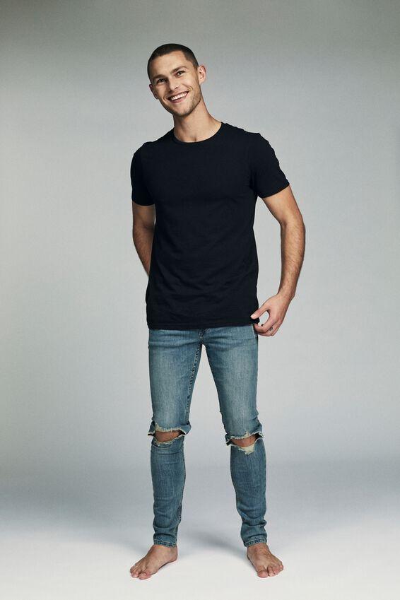 Super Skinny Jean, WORKER BLUE + BLOWOUT