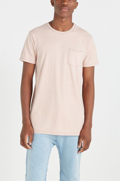 Longline Scoop Hem Tee, DIRTY PINK ACID WASH