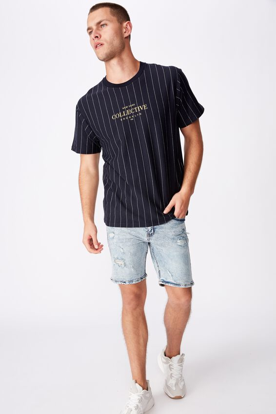 Downtown Loose Fit Tee, INK NAVY/WHITE/NY COLLECTIVE