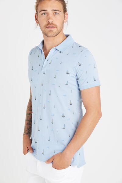 Short Sleeve Prep Polo Slim Fit, LIGHT BLUE SAILS