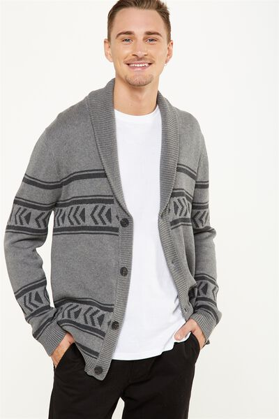 Rugged Cardi Knit, GREY MARLE