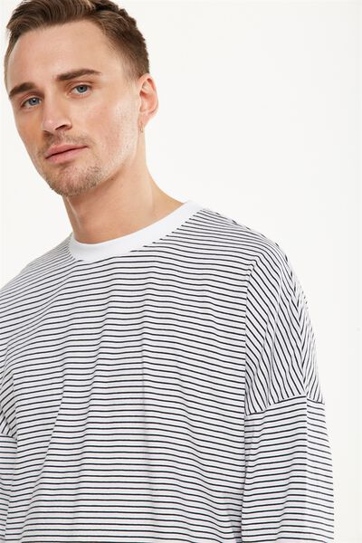 Drop Shoulder Long Sleeve, SMOKE/WHITE/FADED SLATE STRIPE
