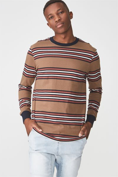 Tbar Long Sleeve, COPPER/RED/NAVY/WASHED WHITE STRIPE