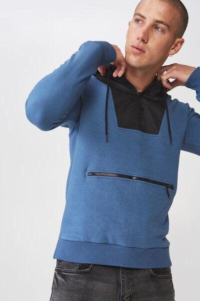 Drop Shoulder Pullover Fleece, STELLAR/BLACK SLEEVE POCKET