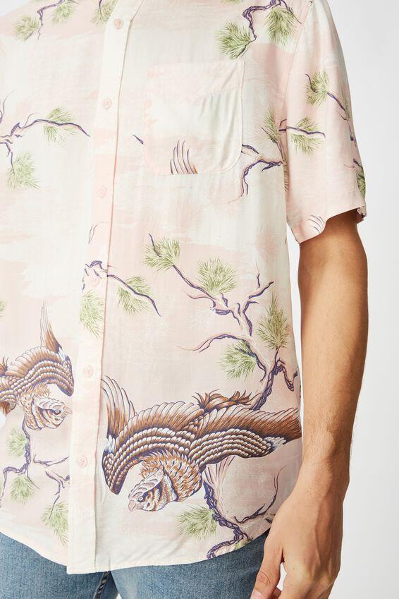 Short Sleeve Resort Shirt, PINK ABSTRACT