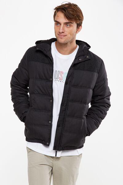 Textured Puffer Jacket, BLACK