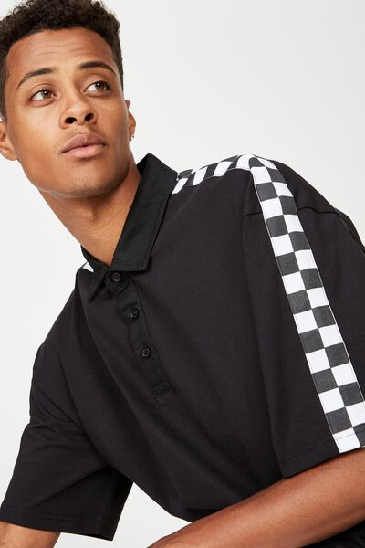 Collaboration Oversized Polo, BLACK CHECKER