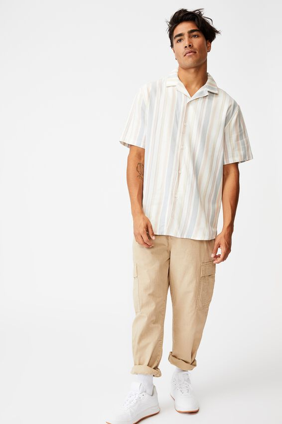 Textured Short Sleeve Shirt, MULTI COLOURED STRIPE