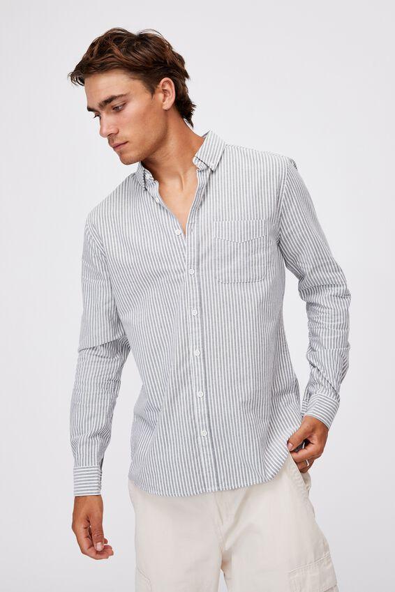 Brunswick Shirt 3, NAVY WHITE STRIPE