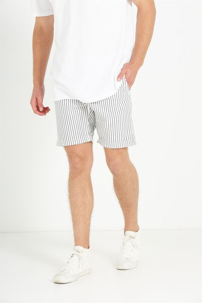 Washed Chino Short, BONE VERTICAL STRIPE