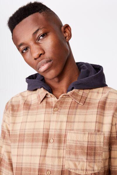 Rugged Hooded Shirt, TAN CHECK