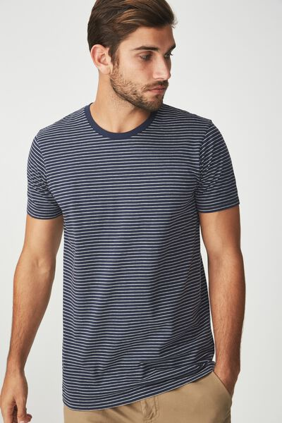 Tbar Premium Crew, TRUE NAVY/GREY MARLE STRIPE