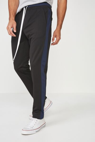 Urban Side Stripe Track Pant, BLACK/NAVY PANEL