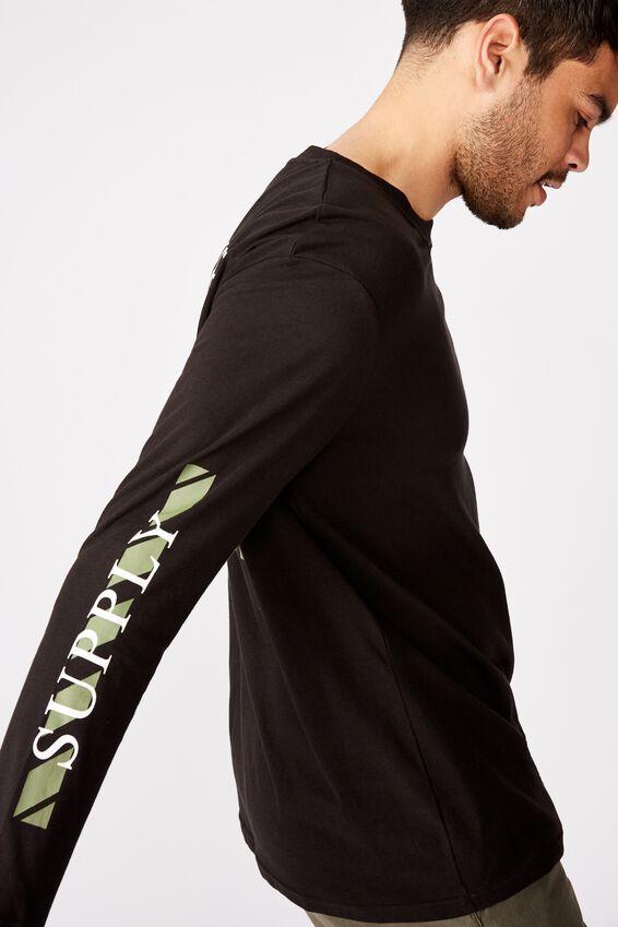 Tbar Long Sleeve, BLACK/SUPPLY HAZARD