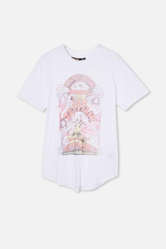 Longline Scoop Lounge T-Shirt, LCN ARA WHITE/LED ZEPPLIN - ELECTRIC LOVE