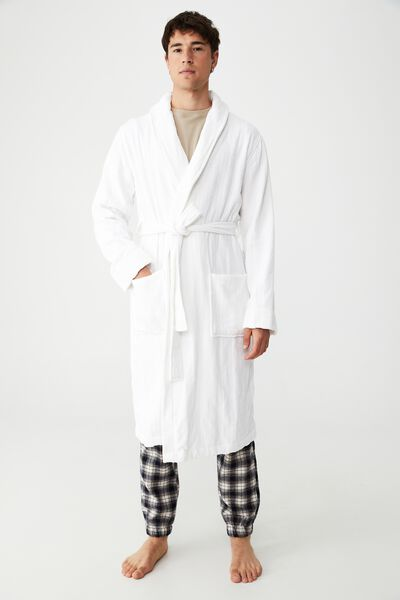 Mens Toweling Gown, WHITE
