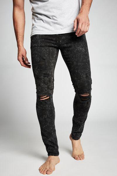 Super Skinny Jean, MOTTLE BLACK BIKER