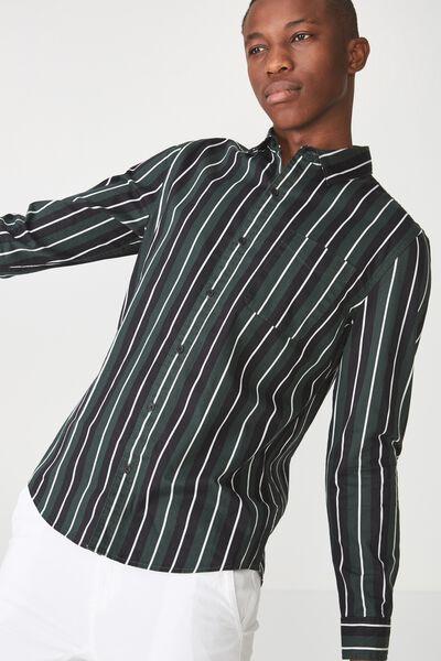 Troubadour Shirt, BLACK KHAKI STRIPE