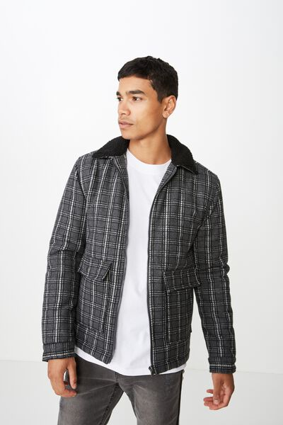 Sherpa Trucker Jacket, BLACK CHECK