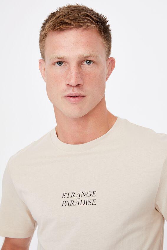 Tbar Text T-Shirt, IVORY/STRANGE PARADISE