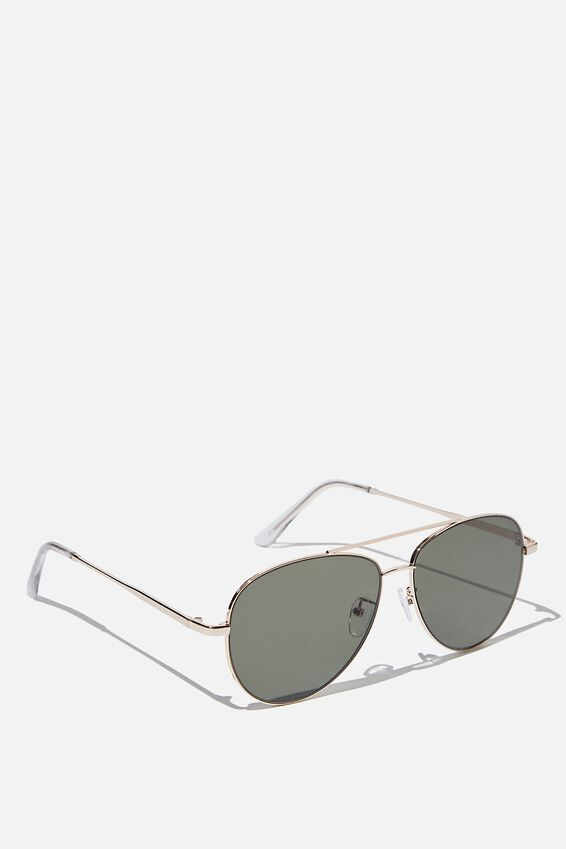 Marshall Sunglasses, GOLD CLEAR GREEN FLAT