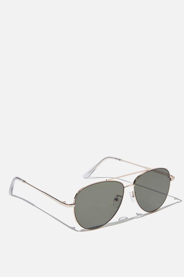 Marshall Sunglasses, GOLD CLEAR GREEN FLAT